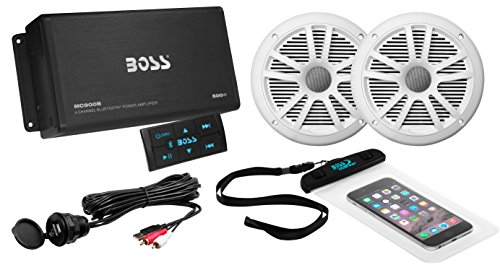 BOSS Audio Systems ASK902B.6 Marine 500 Watt 4 Channel Amplifier 6.5 Inch Speaker Bluetooth System, Bluetooth Remote, USB Auxiliary Interface Mount, Waterproof Pouch