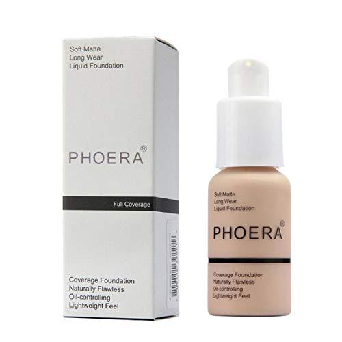 Matte Oil Control PHOERA Liquid Foundation, Full Concealer Foundation Cream Brighten long-lasting Shade 30ml