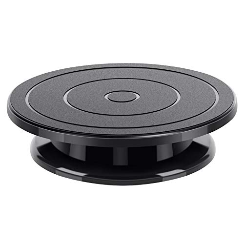 Kootek 11 Inch Rotate Turntable Sculpting Wheel Revolving Cake Turnable Black Painting Turn Table Lightweight Stand for Paint Spraying Spinner Cake Decorating Displaying Item