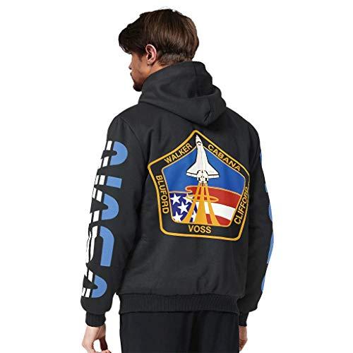 Zhcon Heren Long-Sleeve Volledige Zip Up NASA spaceStyle Plus Fluwelen Trui Sweater Winter Plus Padded Jacket Bovenkleding Jas Tops met Zakken