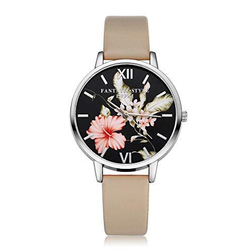 Powzz ornament - Reloj de pulsera de piel sintética con esfera negra a la moda, informal, para damas simple
