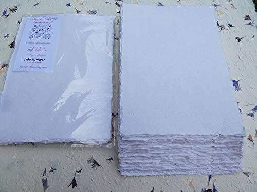 Papel de acuarela A3 hecho a mano, 10 hojas, color blanco liso, 350 g/m², algodón Linters (AS353)