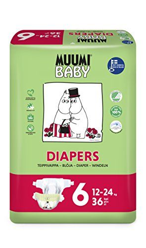 Muumi Baby Premium Öko Windeln - Größe 6, 12-24kg, 36 Stück
