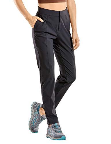 CRZ YOGA Damen Wanderhose Leichte, Schnell Trocknende, Bequeme Freizeithose mit Elastischer Taille Schwarz 36
