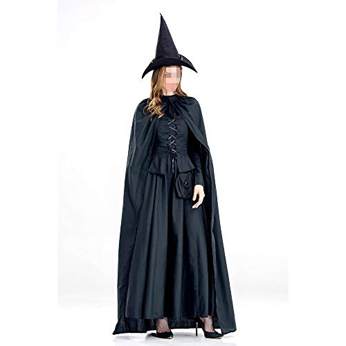 kMOoz Cosplay kostuum, halloween Outfit,kids Halloween Heks Fancy Adress Kostuum Cosplay Halloween Feest, halloween met mantel heks Cos Stage Kostuum Pure Zwart Heks Game Suit