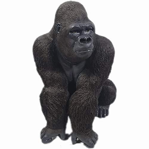 Aspinaworld Gorilla Figur sitzt auf der lauer, 56 cm, schwarz, wetterfeste Gartenfigur aus Kunststein, Dschungel Gartenfigur