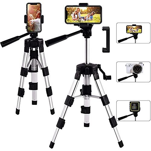 Trípode de 360°, Cámara de Trípode, Trípode de Teléfono, Trípode de Cámara Portátil, Trípode, para iOS Android, Trípode Plegable con Soporte de Teléfono, para Viajes, Selfie, Medición