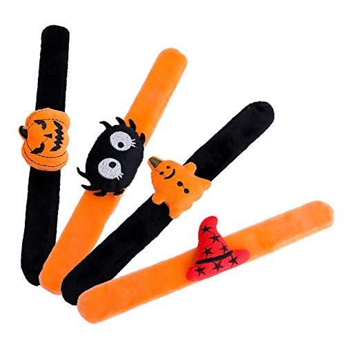Dream HorseX Halloween Schiaffo Braccialetti Decorazione dell'Accessorio del Costume del Rifornimento Hallowee Modello di Ragno Pipistrello Zucca (4 Motivi, 4 Pezzi)