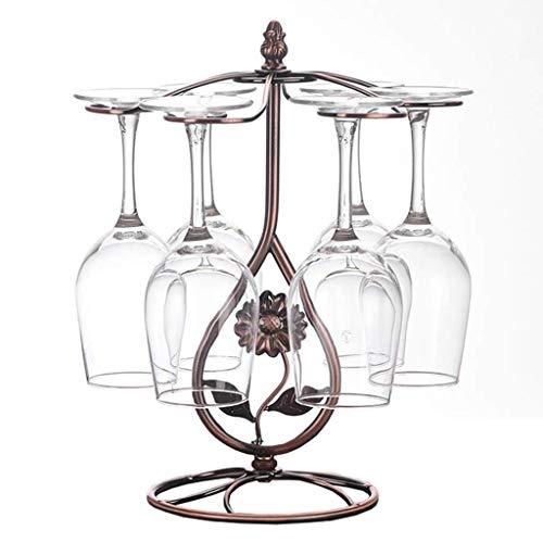 Weinregale, Weinregal kreatives Weinglas Ständer freistehend Zähler Bar Metallkelch Weinglas Storage Rack mit 6 Haken-Rack WTZ012