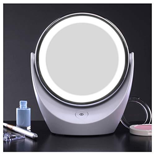 Badspiegel GSN Led Leuchtende Kosmetikspiegel Kreativität Doppelseitige 360 ° Rotierenden Desktop Kosmetikspiegel 5X Vergrößerung Prinzessin Spiegel Reise Tragbare Rasur Spiegel Make-Up Spiegel