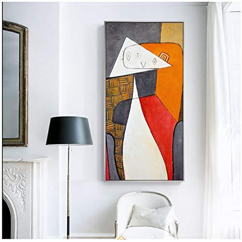 dubdubd Picasso Figura Abstracta Pinturas En Lienzo En La Pared Postes E Impresiones De Arte Geometría Cuadros De Arte Decoración del Hogar -20X40 En Sin Marco