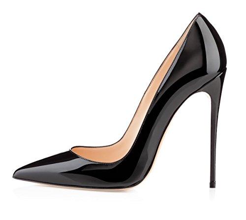 EDEFS Damen Klassische Pumps Bequeme High Heels Elegante Schuhe Spitze Stiletto Pumps Schwarz Größe EU39