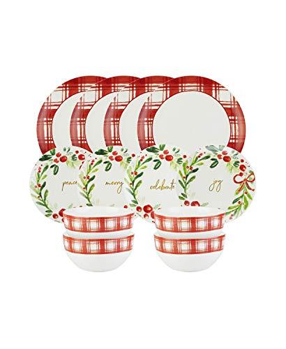 American Atelier Mistletoe Memories Red Plaid 12-Pc. Dinnerware S