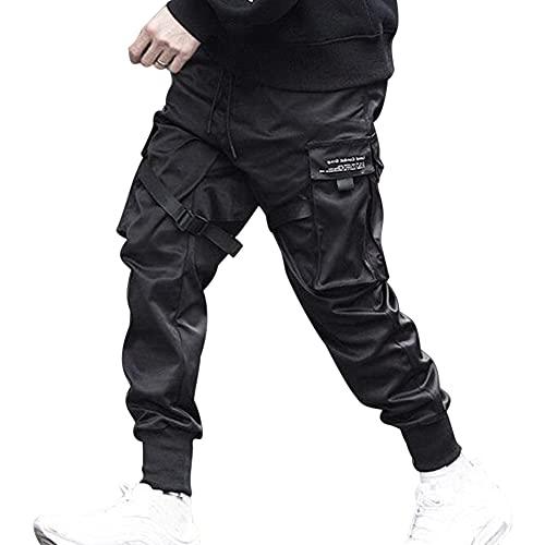 Hinbest Calça masculina moderna com vários bolsos, estilo hip hop, casual, harém, cargo esportiva, calça com fivela de bolso grande