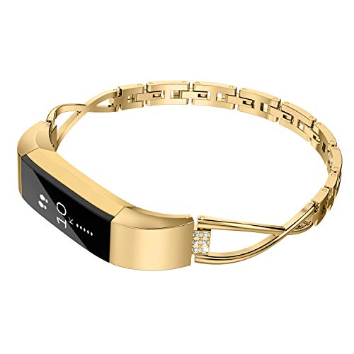 Wearlizer Compatible for with Fitbit Alta Bands Small Silver Rose Gold Fitbit Alta hr Women Metal Replacement Bands Accessories Straps Bracelet Bangle Wrist Bands Gold
