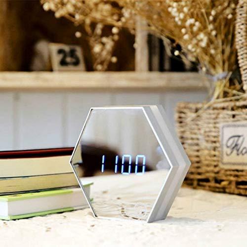 Ytai Home Decor Gift Alarma multifunción táctil de detección Reloj Digital luz de la Noche Pantalla de Temperatura lámpara de Mesa de Maquillaje Espejo Viaje Relojes (Color : Blanco)