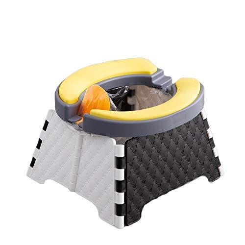 Asiento de entrenamiento para orinal, inodoro portátil para viajes, 2 en 1 para niños, suave y resistente, silla plegable + 30 bolsas desechables (color blanco)