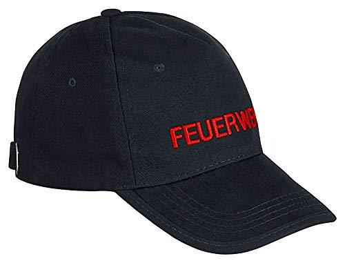 PACOTEX Premium Feuerwehr Cap Basecap in robuster Arbeitskleidungs-Qualität marineblau mit FEUERWEHR Bestickung (Rot)