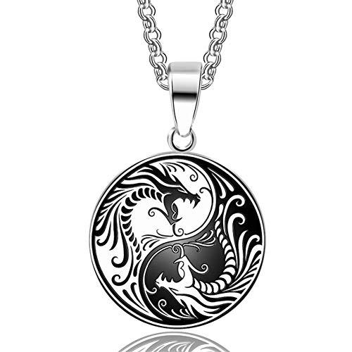 YUANYUAN520 Regalos Collar Colgante De Acero Inoxidable 316L 1pcs Dragón De Yin Yang Nórdicos Vikingos Runas Amuleto Collares Colgantes De Los Hombres del Encanto Joyería