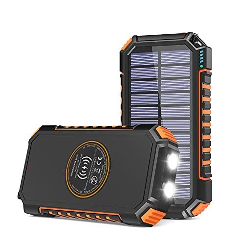 【Amazon限定ブランド】ADDTOP モバイルバッテリー ソーラー 26800mAh ソーラーチャージャ一 大容量 Type-c 急速充電 3つ出力ポート ワイヤレス充電器 PSE認証済 防水 耐衝撃 高輝度LEDライト iPhone/Android/iPad/HUAWEI等対応 災害/旅行/アウトドアに大活躍