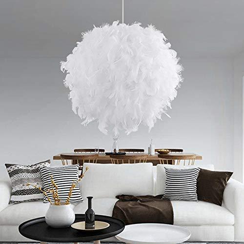 Fulllove Pendelleuchten Weiße Feder Lampe Federlampe Deckenleuchten mit E27 Lampenfassung für Wohnzimmer Schlafzimmer
