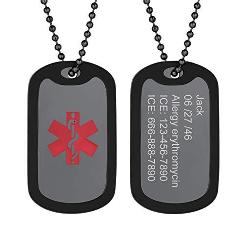 Silicona Collar Medical Personalizable de Cruz Roja Colgante Rectangular Acero Inoxidable Negro con Cadena de Bolitas Joyería útil para Enfermos Niños Ancianos