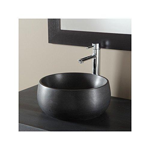 PlaneteBain Vasque à Poser Bol en Pierre Noire absolue et Forme de Bol