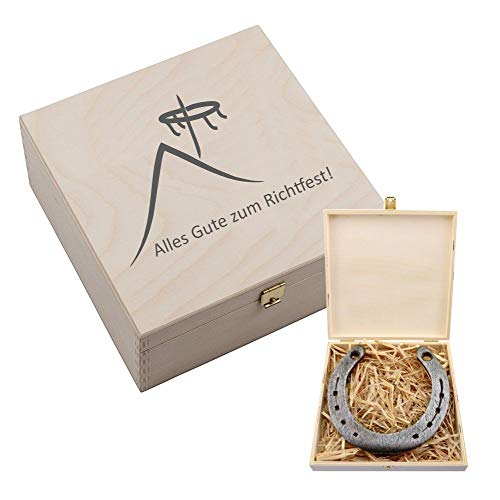 4youDesign Hufeisen-Box mit Motiv Alles Gute zum Richtfest (Hausdach und Richtkranz) - Geschenkidee zum Hausbau - Glücksgeschenk zum Richtfest (mit Gravur)