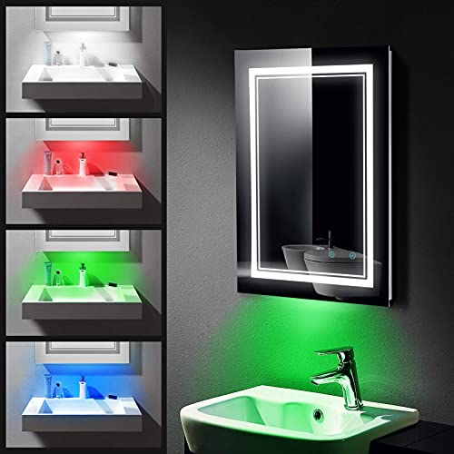 Teochew Badspiegel mit Beleuchtung, Badezimmerspiegel mit 3 Lichtfarben, LED Spiegel mit Antibeschlagfunktion, IP44 Wasserdicht, Dimmbar, Touch Schalter, Wandspiegel Badezimmer 60x80cm