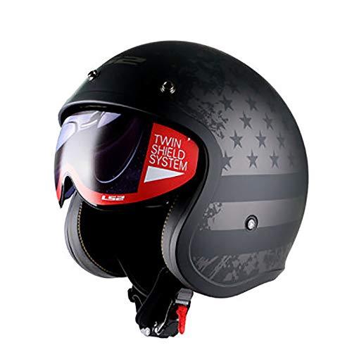 Casco retro de motocicleta DOT/ECE para hombres y mujeres medio casco cubierto cuatro estaciones verano lente interior medio casco Cara abierta Casco motocicleta chopper scooter E,XL=57-58CM