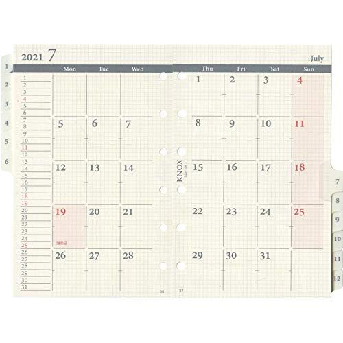 ノックスシステム手帳リフィル2021年ミニマンスリー月間ブロックインデックス付52310521(2020年12月始まり)