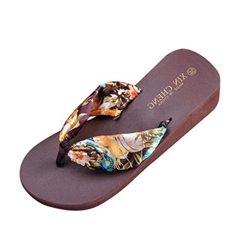 Giow Zapatillas de casa de Verano para Mujer, Mocasines de Tanga, Chanclas Florales de Interior Bohemia, Sandalias de Espuma con Memoria (Color: café, tamaño: 3.5 UK)