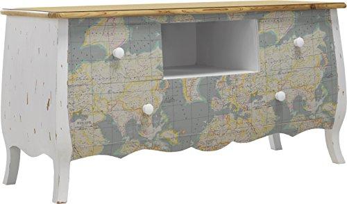 Destock Meubles Meuble TV sapin massif blanc patiné antiquaire Mappe monde