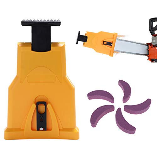 Chainsaw Sharpener, Chainsaws Teeth Sharpening Kit with 5 Pcs Grinding Chain Stone, Portable Chain Saw Blade Sharpener Fit 14/16/18/20 Inches Two Holes Flat Tooth Chain Saw Bar