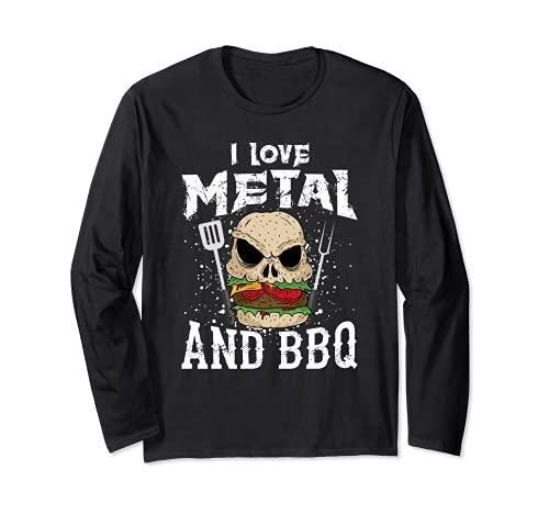 Heavy Metal And Barbecue - Hard Rock Biker BBQ Rockabilly Long Sleeve T-Shirt