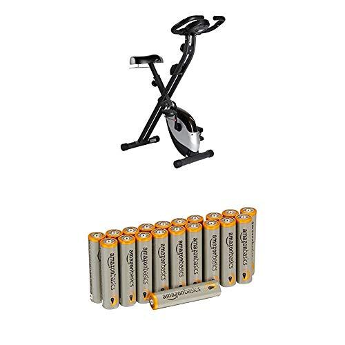 Ultrasport F-Bike Heavy, Fahrradtrainer, Heimtrainer, Fitnessfahrrad mit Trainingscomputer und Handpulssensoren, klappbar, Schwarz/Silber mit Amazon Basics Batterien