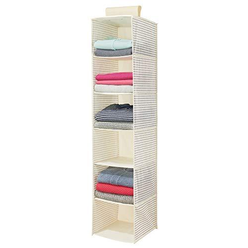 mDesign Estantería colgante de fibra sintética con 6 estantes – Organizador de tela para colgar en el dormitorio – Colgador de armario con diseño a rayas para ropa, cinturones y bolsos – blanco y azul