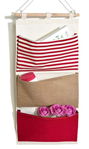 bellendo® Organizador colgante para baño, niños, puerta, pared, tela, para habitación de los niños, organizador de pared, 3 compartimentos, color rojo