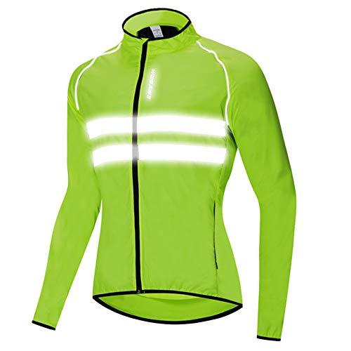 HTABY Reflective Jacket Men Women Windproof Cycling Windbreaker Mountain Road Bike Waterproof Jacket High Visibility,Green,M