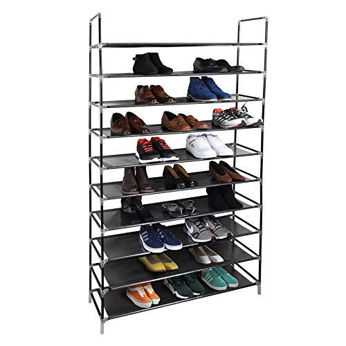 Vinsani - Zapatero para 50 pares de zapatos con estantes ajustables (2 unidades, 10 niveles, 100 x 29 x 175 cm), color negro