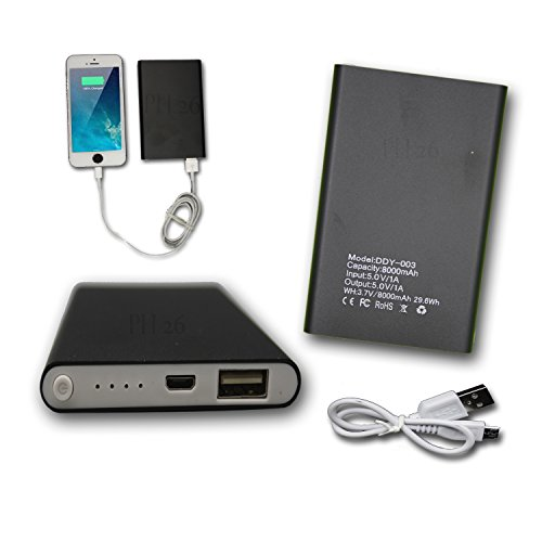 PH26® Externer USB-Akku, 8000 mAh, mit LED (Kabel im Lieferumfang enthalten) Power Bank Output Intelligent Quick Charge für Archos 50d Helium 4G