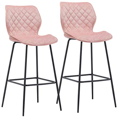 Duhome 2X Barhocker Barstuhl aus Stoff Samt Gestell aus Metall Sitzhöhe 75 cm Tresenhocker Bar Sessel gut gepolstert mit Lehne Farbauswahl 5180V, Farbe:Rosa, Material:Samt