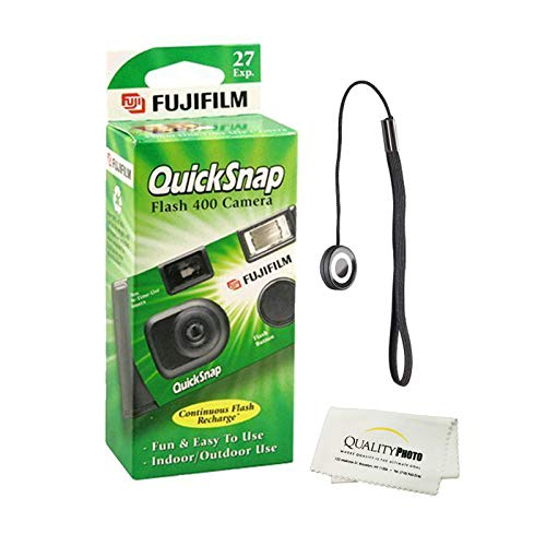 Fujifilm QuickSnap Flash 400 Disposable 35mm Camera (1 Pack) Bonus Hand Strap + Quality Photo Microfiber Cloth