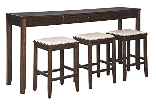 Signature Design by Ashley Rokane Urban Farmhouse Counter Height Dining Room Table Set with 3 Bar Stools, Brown