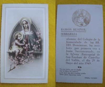 Antiguo Recordatorio - Old Reminder : PRIMERA COMUNIÓN Ramón Rusiñol Serrabasa - San Esteban de Castellar del Valles