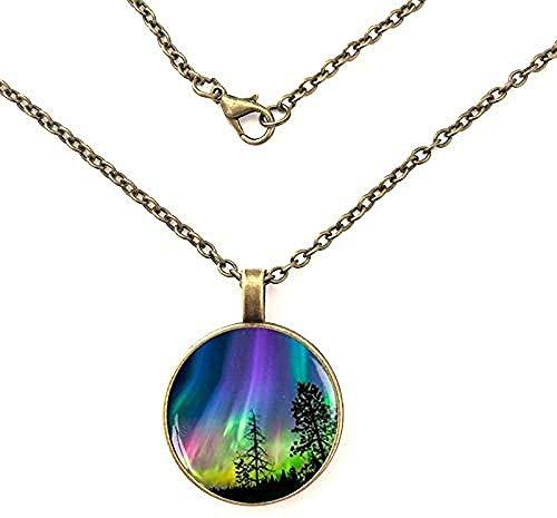 BACKZY MXJP Halskette Nordlichter Aurora Borealis Glaskuppelkette Anhänger Halskette Schmuck