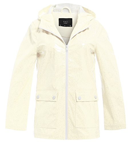SS7 Damen Regen Mac Wasserdicht Funkeln Regenjacke Jacke Funkeln Muster Neon Rosa, Cremefarben (38, Cremefarben)