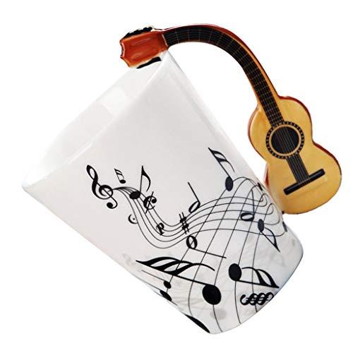 non-brand Gitarren Form Keramik Becher Kaffee Tasse Espresso Becher Keramik Kaffee Mug Kaffeebecher - Holz Gitarre Freiheit