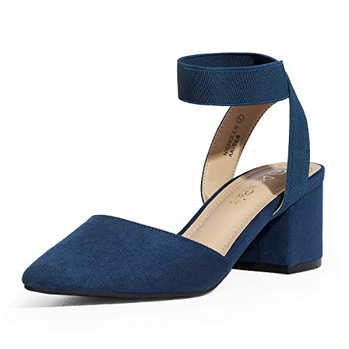 DREAM PAIRS Women's Navy Suede Low Block Chunky Heel Ankle Strap Pumps Shoes Size 8.5 M US NICHOLES