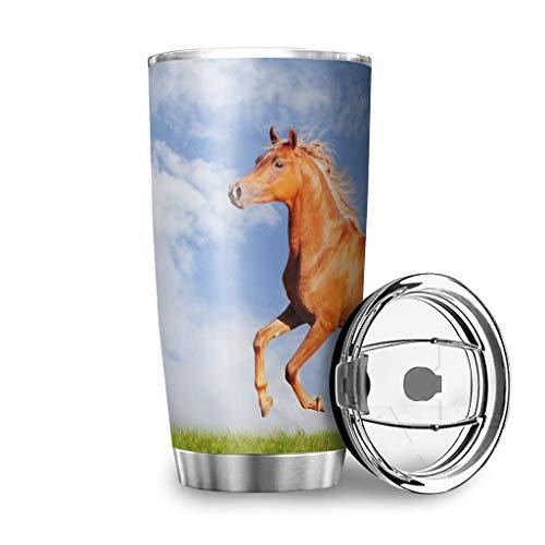 Generic Branded Vaso de viaje con espejo de caballo de animales de acero inoxidable aislado con tapa, regalos para amigos para el hogar, oficina, escuela, trabajo al aire libre, 600 ml